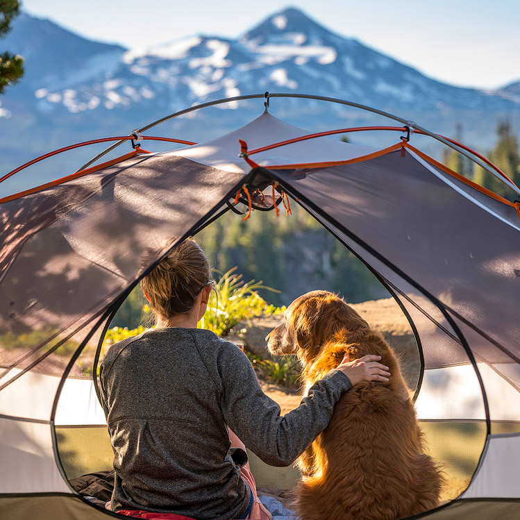 A camper and dog in a tent at Cascade Lakes
