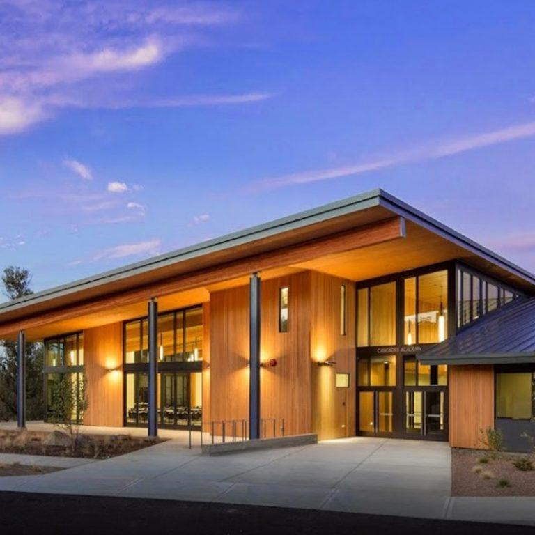Cascade Academy School at sunset