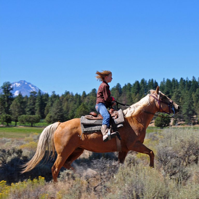 A girl riding a palomino horse in Sunriver