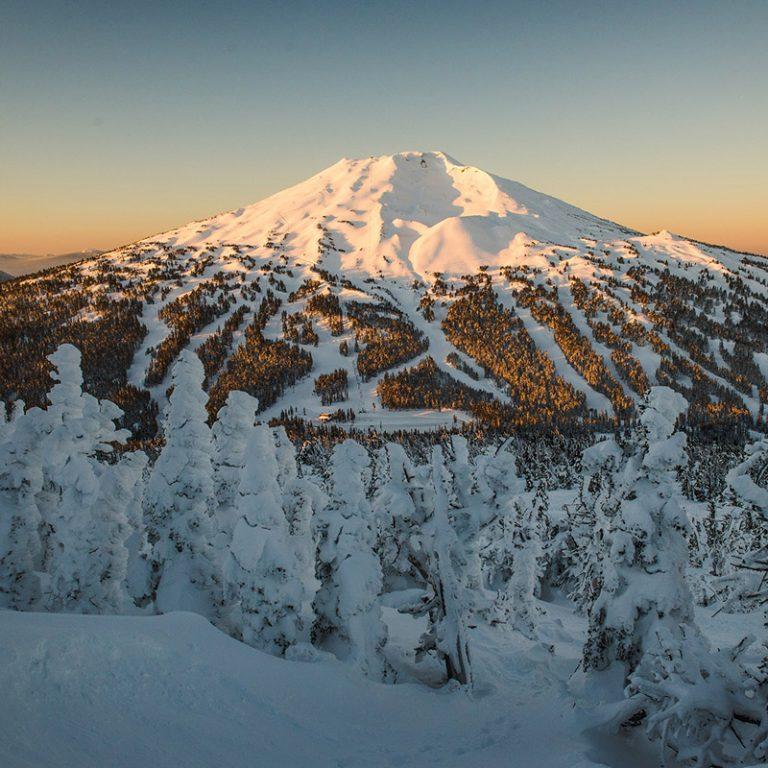 Snowcovered peak of Mt Bachelor