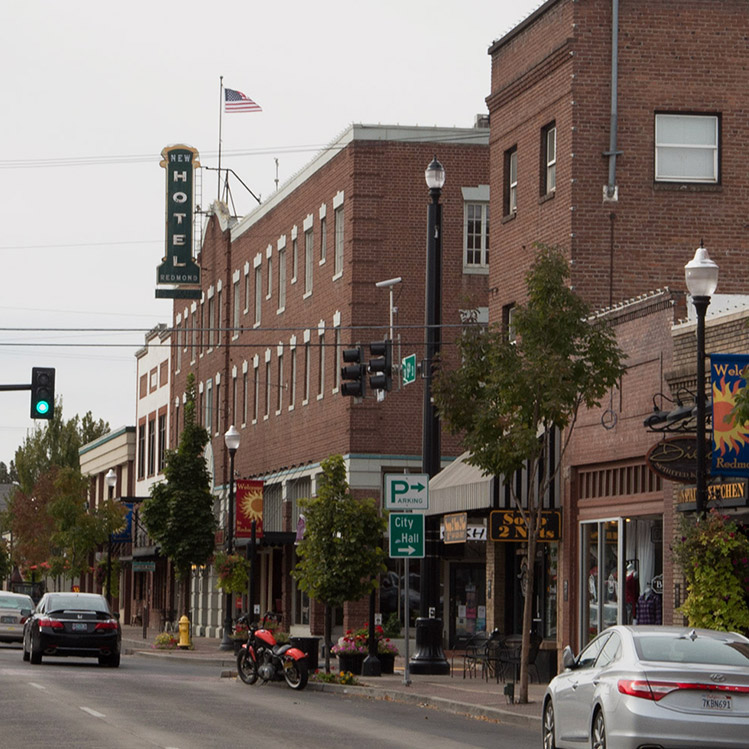 Red brick buildings in downtown Redmond