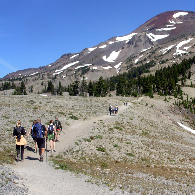 A group hiking to South Sister, Oregon