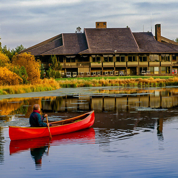 A red canoe in Sunriver