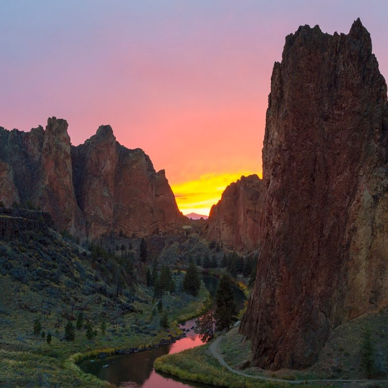 View of a sunset at Smith Rock State Park near Prineville