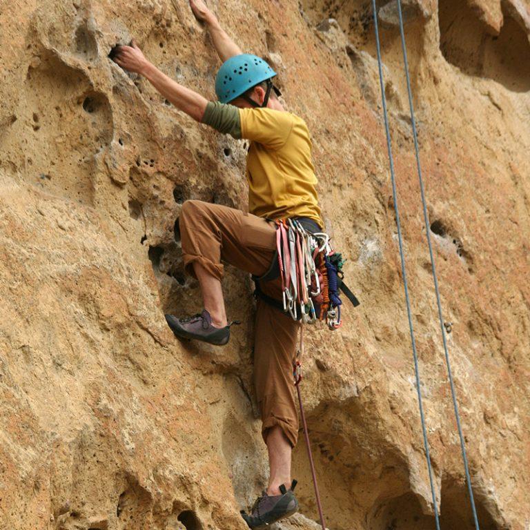A rockclimber at Smith Rock State Park