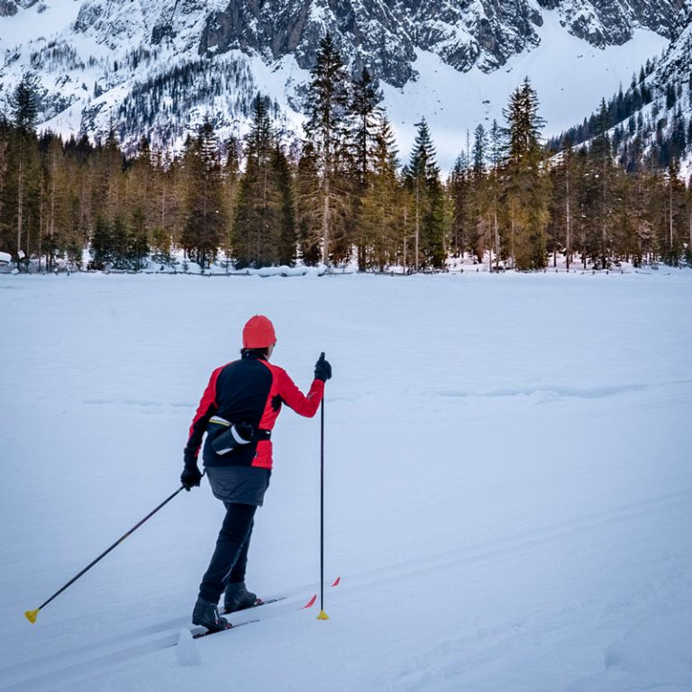 A cross country skier in a red coat